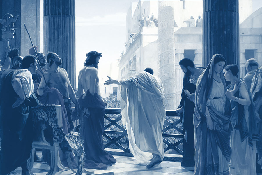 Pilate addressing the crowd before Jesus
